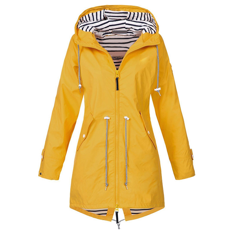 Heflashor Ladies Coat Jacket Autumn Winter Long Women Plus-Size Windproof for Rain-Zipper
