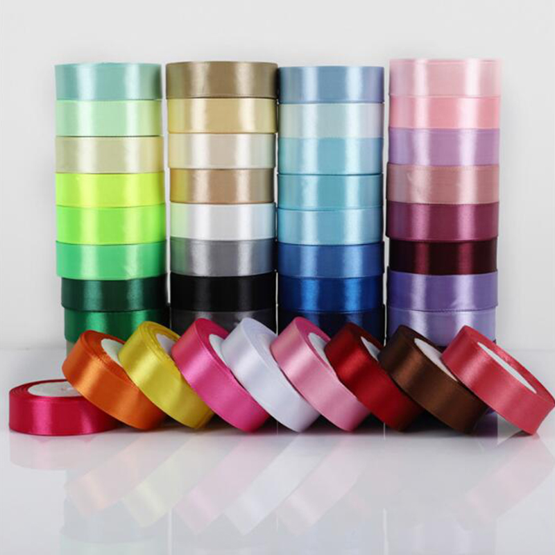 25Yards/Roll Grosgrain Satin Ribbons For Wedding Christmas Party Decorations DIY Bow Craft Ribbons Card Gifts Wrapping Supplies