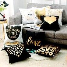 Черная золотистая Подушка Бронзирующая любовь сердце губы Золотая фольга декоративные подушки для диванов домашний Декор диванная подушка