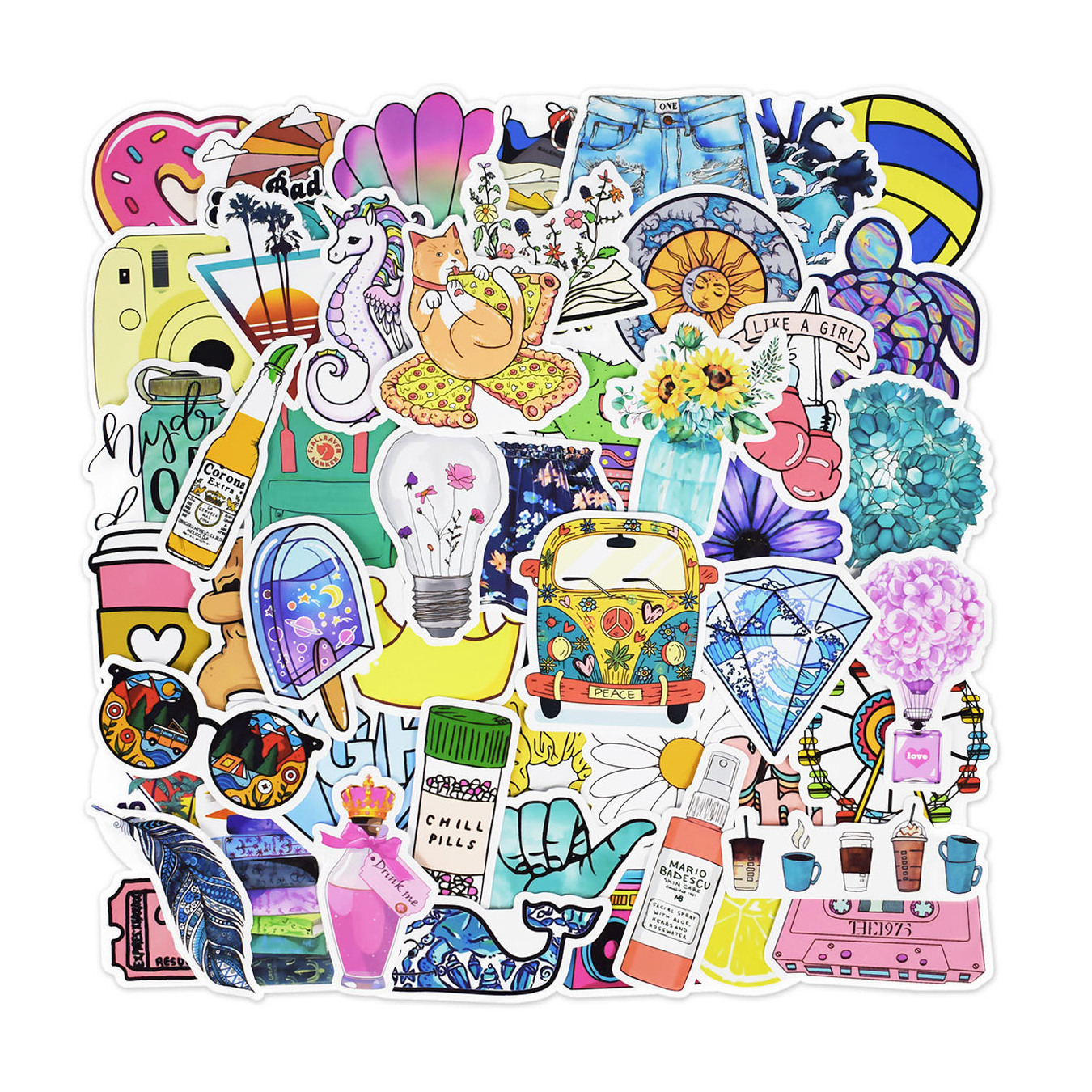 50Pcs/pack Graffiti Adhesive Paper Summer Fresh Laptop Trolley Motorcycle Luggage Cartoon Adhesive Paper