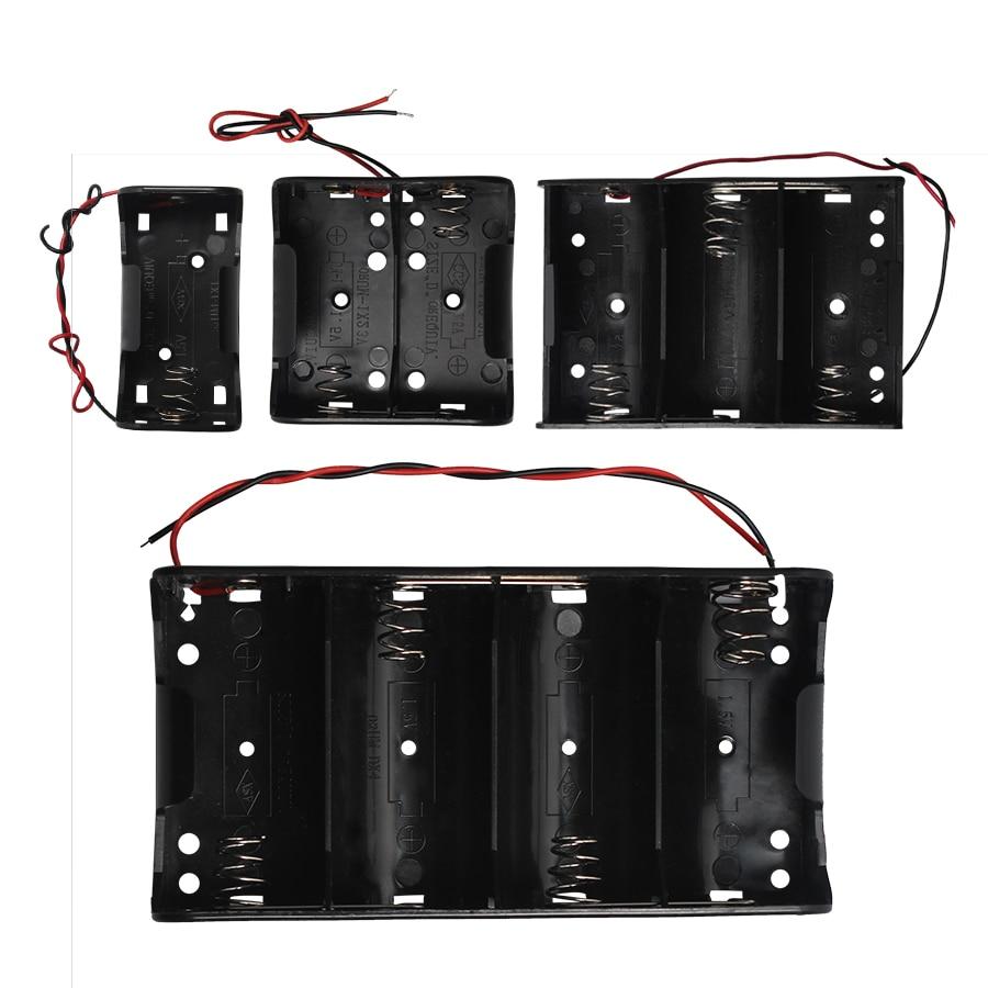 50 pièces 1X 2X 3X 4X conteneur de porte-batterie en plastique 1.5V 3V 4.5V 6V pour Batteries de taille D avec fils sans couvercle et interrupteur
