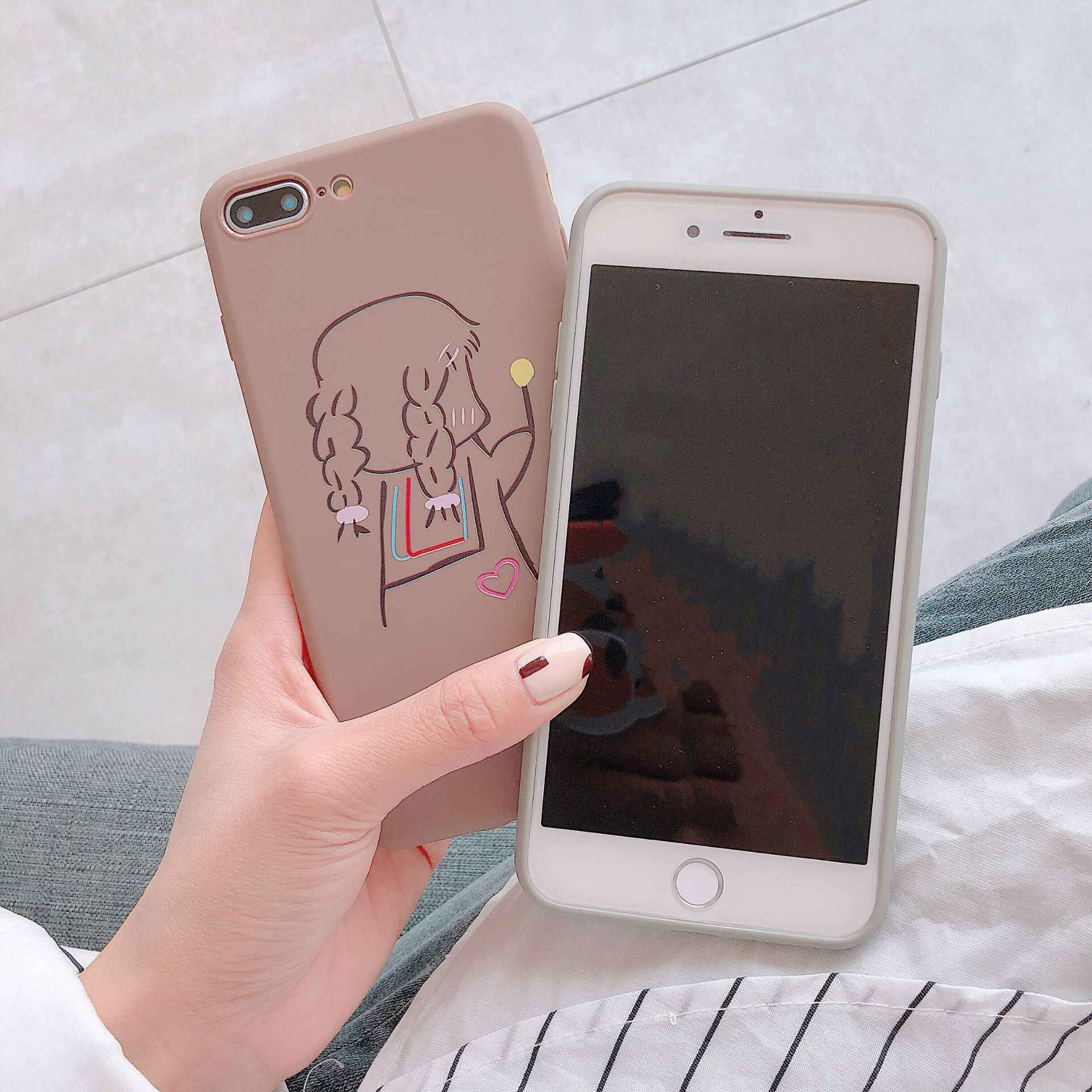 حافظة هاتف من البولي يوريثان لهاتف آيفون XR XS Max 7 8 6 6S Plus SE 2020 12 mini Heart غطاء شاي حليب كرتوني لهاتف آيفون 11 Pro Shell Fundas