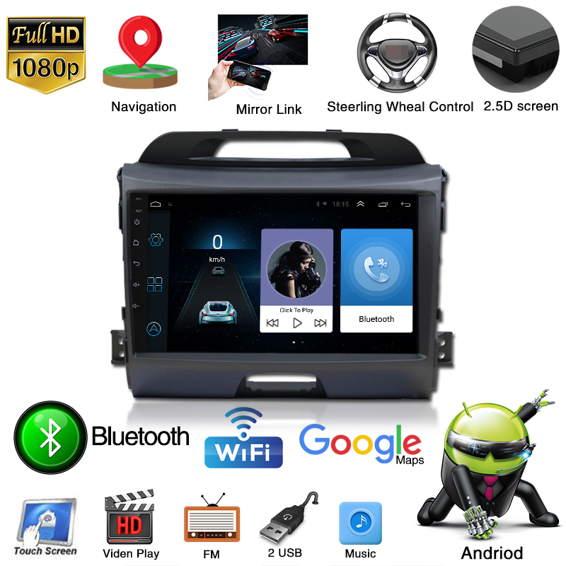 "9""HD android 9.0 car dvd player for KIA sportage 2010 - 2015 Car Multimedia System WIFI 3G GPS Bluetooth auto Radio Stereo DVR"