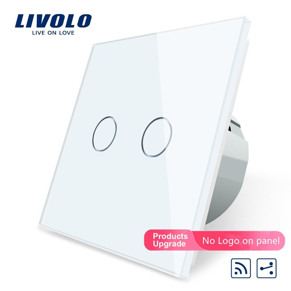 Livolo EU Standard Touch Remote Switch, White Crystal Glass Panel, 2Gang 2Way,220~250V,C702SR-11,No Remote Controller,no Logo