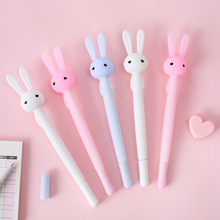 3pcs Oh Cute Rabbit Gel Pen Big Head Flexible Ballpoint Black Color Ink Pen for Writing Stationery Kids Gift Office School F947 zinc alloy golf ball head ballpoint pen gel ink pen set silver golden