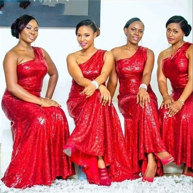 2020 new Mermaid Red Sequined One Shoulder Bridesmaid Dresses Plus Size Long Cheap Wedding Guest Dress Formal Party Gowns