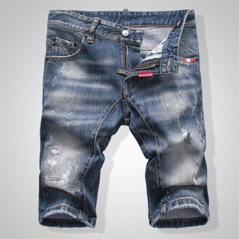 2020 New summer Style dsq brand jeans mens Slim Short jeans Men denim trousers zipper stripe hole blue hole Shorts jeans for men