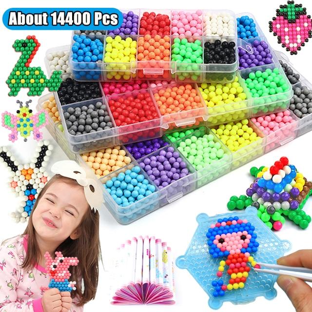 Refill Hama Beads Puzzle Aquabeads DIY Water Spray Beads Set Ball Games 3D Handmade Magic Toys For Girls Children 1