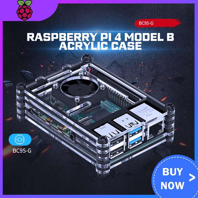 Raspberry PI 4 Model B Acrylic Case  + Cooling Fan +32GB SD Card+5V 3A Power+Heatsink+HDMI For Raspberry Pi 4B Pi 4
