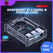 Raspberry PI 4 Model B Acrylic Case  With Cooling Fan +32GB SD Card+5V 3A power+Heatsink+HDMI for Raspberry pi 4B raspberry pi 3 model b nespi case plus 2 wireless gamepad 32gb sd card 3a power adapter fan heat sink for retropie