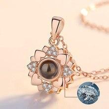 Amor romântico memória inicial colar rosa cor de ouro 100 idiomas eu amo você projeção pingente colar collier femme 2021