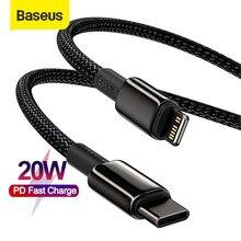 Baseus-Cable USB tipo C para iPhone 12 Pro Max 12 Plus PD 20W, Cable de datos de carga rápida para iphone 11 Pro