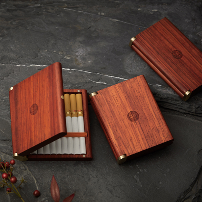 Image 4 - Solid Wood Portable Cigarette Case Ladies Fine Smoke 20 Mens  Business Gifts Purple Sandalwood / African Rosewood Birthday  GiftsCigarette Accessories