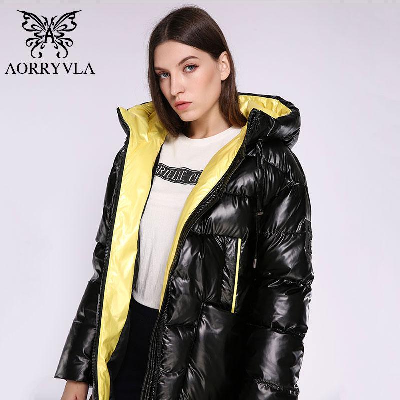 AORRYVLA 2019 Winter Womens Fashion Jacket Long Women Down  Jacket Thick Warm Hooded Coat Female Parka Winter Jacket CasualParkas