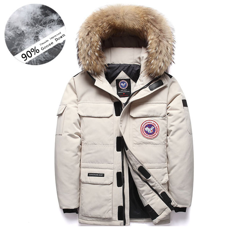 Brand -40 Celsius Down Coat Goose Down Parkas Men Winter Jacket 2019 Real Fur Collar Hooded Outdoor Male Thick Coat
