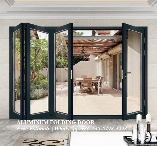 Luxury Hotel Aluminum Front Door,Exterior Waterproof Glass Bifold Aluminum Folding Door,Decorative Grill Design Fold Door