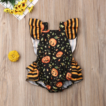 Romper Baby Girls Halloween Pumpkin Print