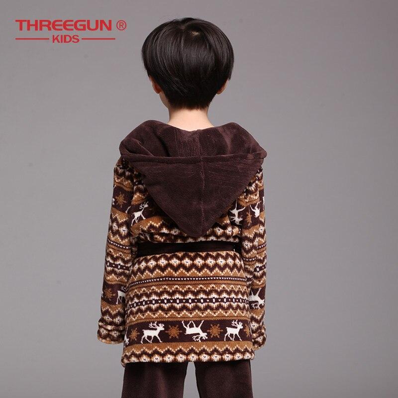 Image 3 - THREEGUN Kids Bathrobe Flannel Children Boys Brown Bath Robe  Winter Sleepwear 1 Robe   1 Pants Warm Pajamas 7 12 YearsRobes   -