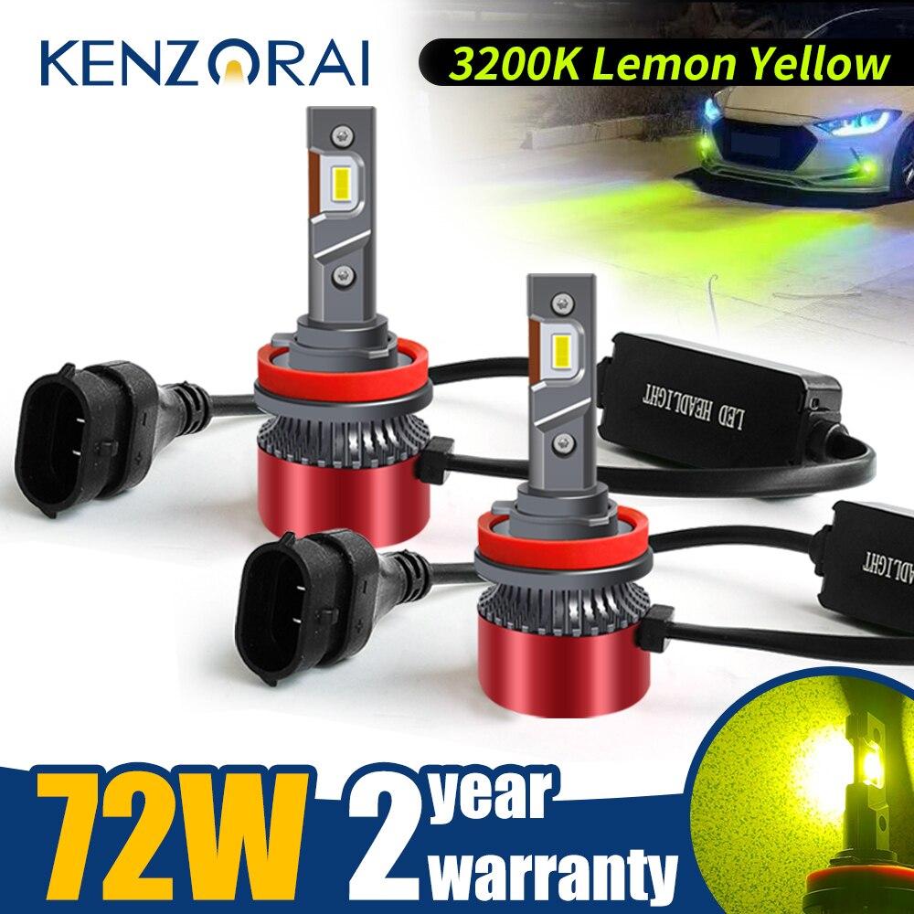 Mini Lemon Yellow H11 LED HB4 Car Bulb Headlight H1 H3 H7 H8 H9 9005 H10 HB3 9006 9012 HIR2 H4 Canbus Auto Light Fog Lamp 12V