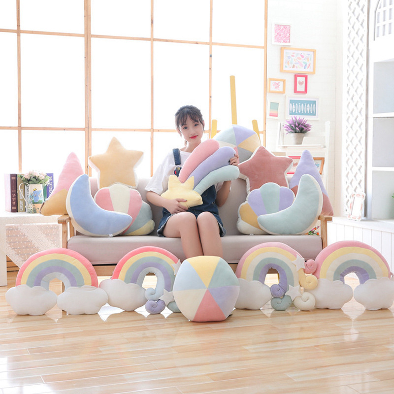 Baby Bed Room Decor Colorful Cloud Rainbow Pillow Infant Cot Newborn Bedding Room Decor Accessory Bedding Set Decoration