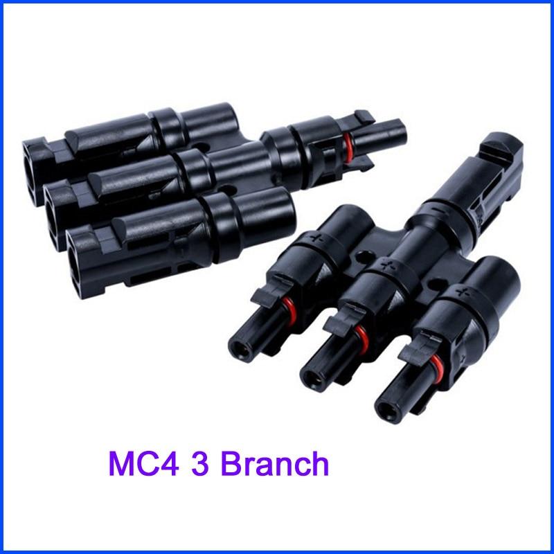MC4 T, 3T, 4 T, 5T филиал параллельное подключение 30A 50A 1000V Электрический Солнечный MC4 разъем фотоэлектрических Панель кабель провод подключения - Цвет: Темно-серый