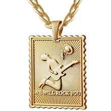 3D Music Hip Hop Pendant Necklace Stainless Steel Curb Cuban Chain Fashion Jewelry Accessories