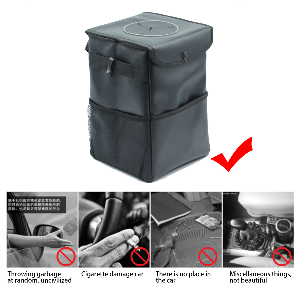 Foldable Car Litter Bag Vehicle Back Seat Garbage Trash Storage Can Rubbish Bin