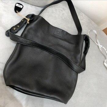 WOHENRED 100% Soft Genuine Leather Bucket Bag Women Handbags Retro Big Shopping Bags Brand Design Cowhide Shoulder Messenger Bag