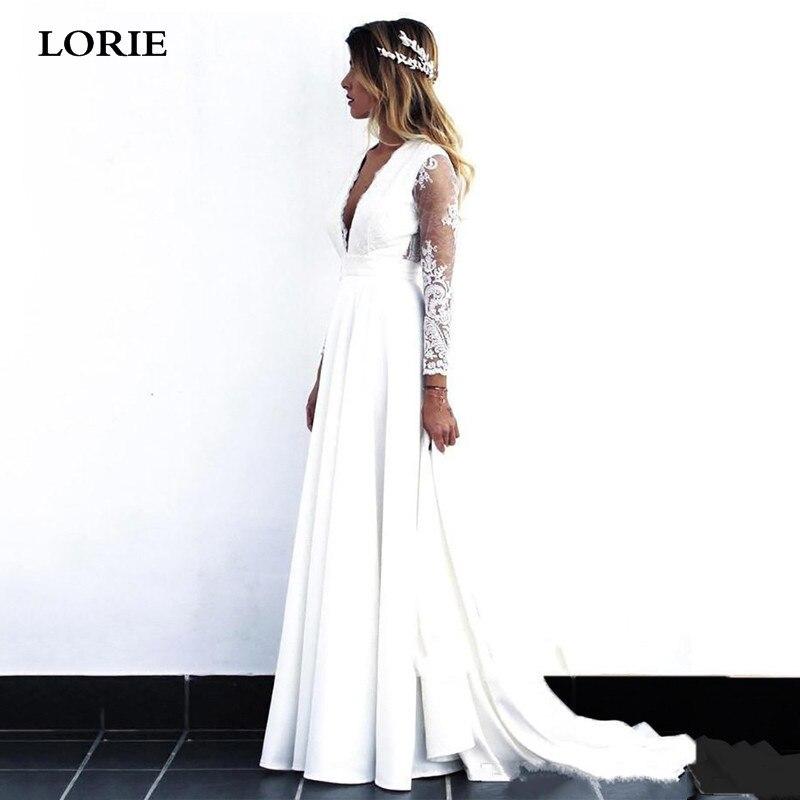 LORIE Beach Lace Wedding Dresses Satin Sexy V Neck Appliques Bride Gowns Long Sleeve Vestido De Voiva