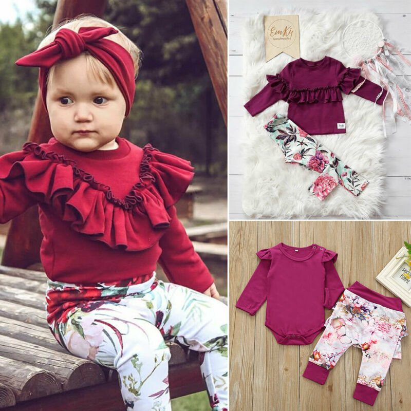Infantil Romper Do Bebé Kid Ruffle Top + Calças + Headband Roupa Set