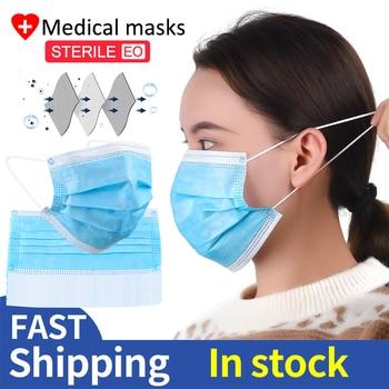 50 100 200 PCS Medical Mask Surgical Mask 3 Layer Disposable Masks Nose Cover Maschere
