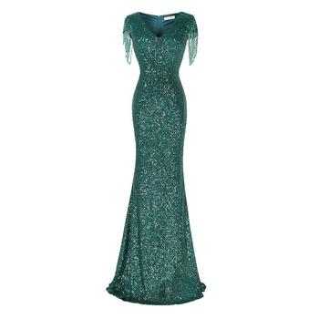 Elegant Women Sequins Evening Party Dress Sexy Slim Mermaid Beads Tassel Vestidos Green Short Sleeve Long Robe De Soiree
