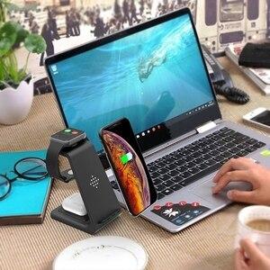 Image 3 - Soporte de cargador inalámbrico Qi de 10w, cargador inalámbrico 3 en 1 para Samsung Galaxy Buds Note 10 Plus, carga para Iphone Airpods Pro Watch