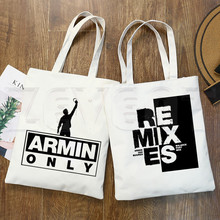 цена DJ Armin Van Buuren Blah Trance Music Fans Print Shopping Bags Girls Fashion  Hip Hop Hipster Casual Pacakge Hand Bag онлайн в 2017 году