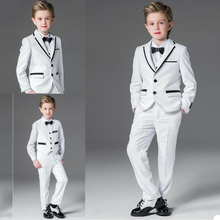 Suits Pants Vest Clothing-Set Jacket Attire Two-Button Custom-Made Boys' Handsome Kids