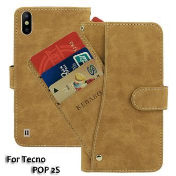 Перейти на Алиэкспресс и купить Винтажный кожаный бумажник Tecno POP 2S Чехол 5,5 дюймфлип Роскошные слоты для карт чехол Магнит подставка для телефона защитные сумки