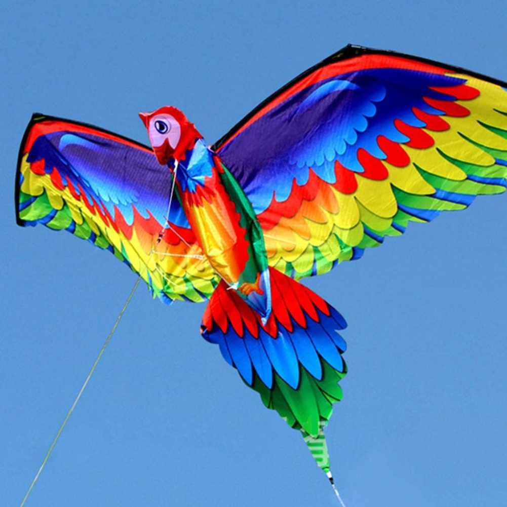 3D Parrot Kite Kids Toy Fun Outdoor Flying Activity Game Children With 100M Line