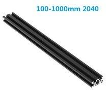 Черный 100-1000 мм Длина 2040 V-образными пазами Алюминий профиль штранг-прессования рамки для лазерный гравировальный станок с ЧПУ 3D принтеры Ка...