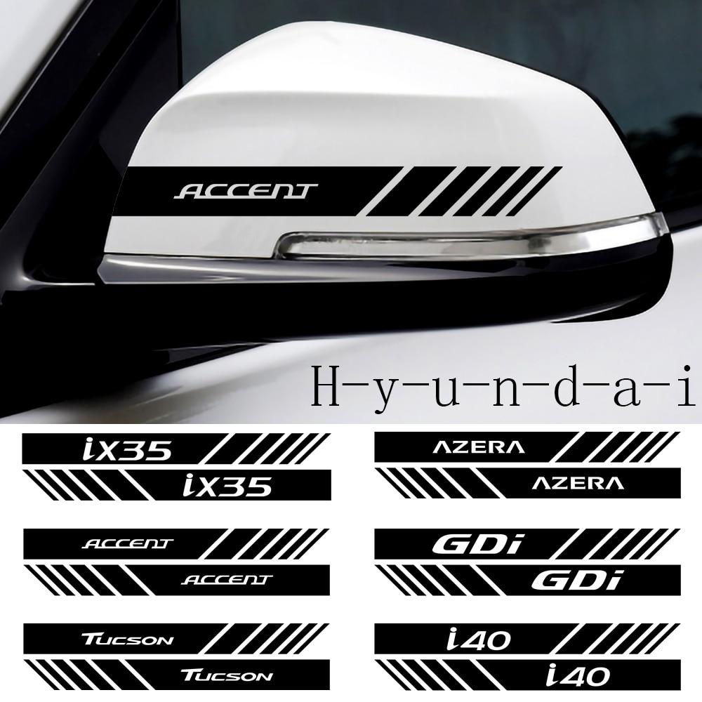 2 шт. Автомобильная наклейка на зеркало заднего вида для Hyundai Accent Tucson i40 i30 i10 i20 Veloster IX35 IX20 Solaris Genesis Azera Santafe GDi Наклейки на автомобиль      АлиЭкспресс