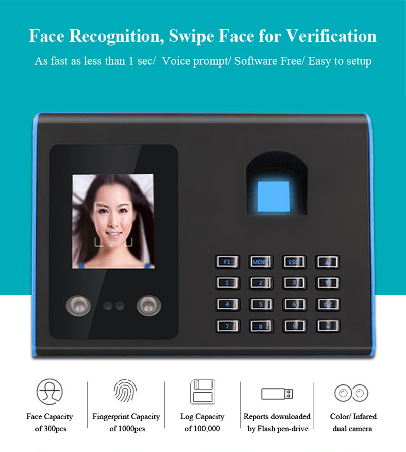 Image 5 - AF01 Biometric Face Facial Fingerprint Recognition Time Attendance System Machine Device Machine-in Electric Attendance from Security & Protection