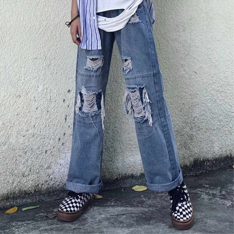 Harajuku рваные широкие джинсы для мужчин женские синие потертые джинсы брюки с пачками мужские уличные хип хоп джинсовые брюки