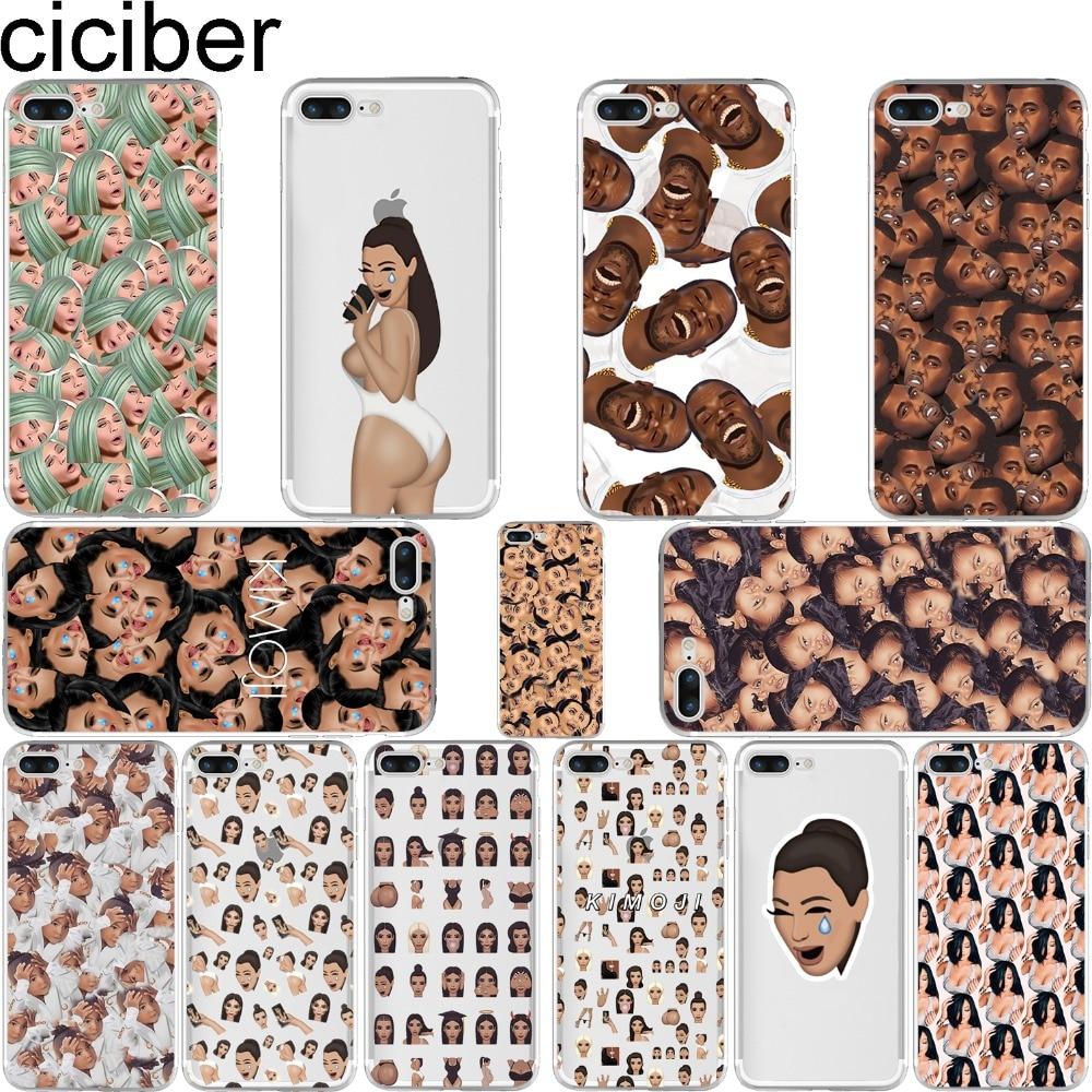 Ciciber Zabavno lice Kimoji Kim Kardashian Kanye etui za iphone 6 6S 7 8 Plus 5S SE 11 Pro Max X XR XS MAX mekani TPU poklopac za telefon