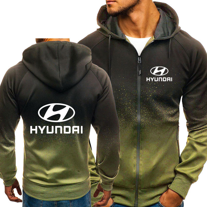 Hoodies Men Hyundai Car Logo Print Casual HipHop Harajuku Gradient Color Hooded Fleece Sweatshirts Zipper Jacket Man Clothing