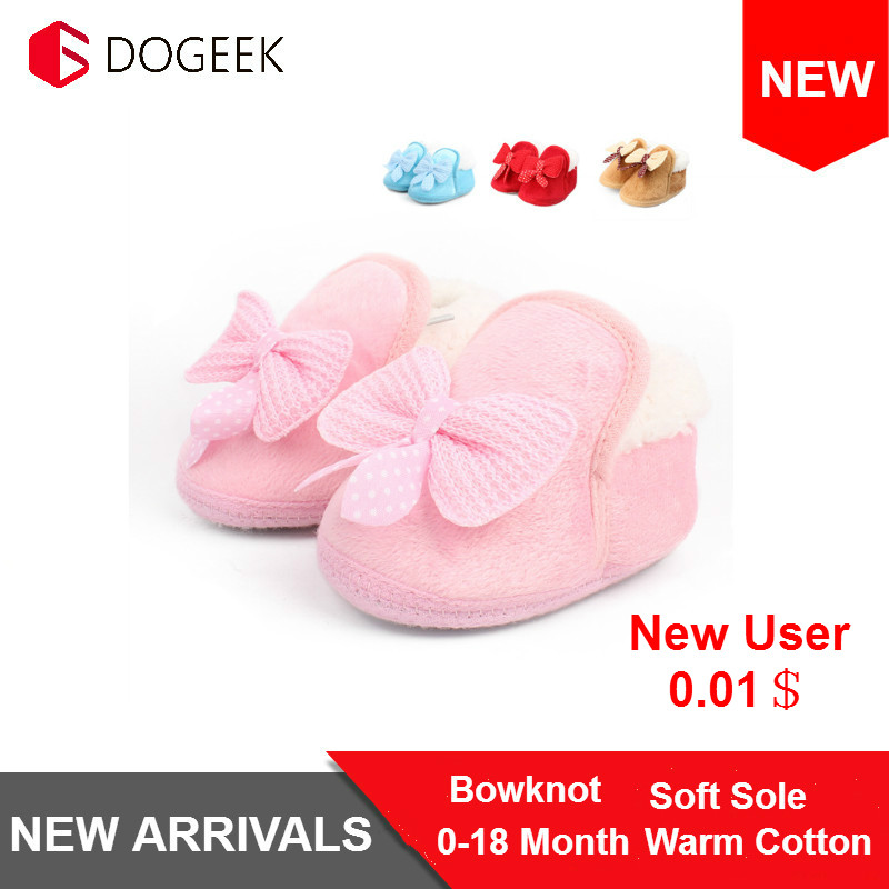 Winter Warm Baby Bowknot Soft Crib Shoes Cotton Shoes Boots Thickened Warm Soft Sole First Walking 0-18M Infant Toddler Shoes