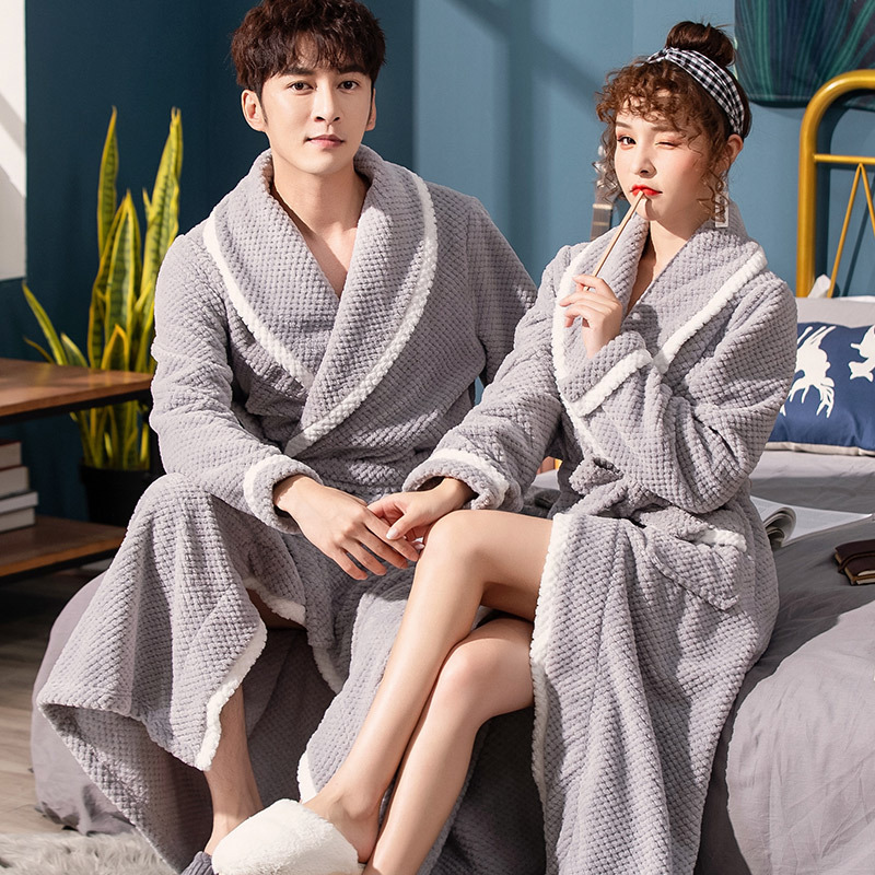 Hot Sale Lovers Warm Winter Bathrobe Men Soft Extra Long Kimono Bath Robe Male Dressing Gown For Mens Flannel Robes