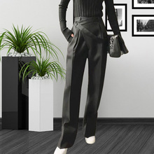 все цены на Solid Color Casual Wide-legged 2019 New High Waist and Side Strip Personality Design 100 Laps Leisure Trousers Long Trousers онлайн