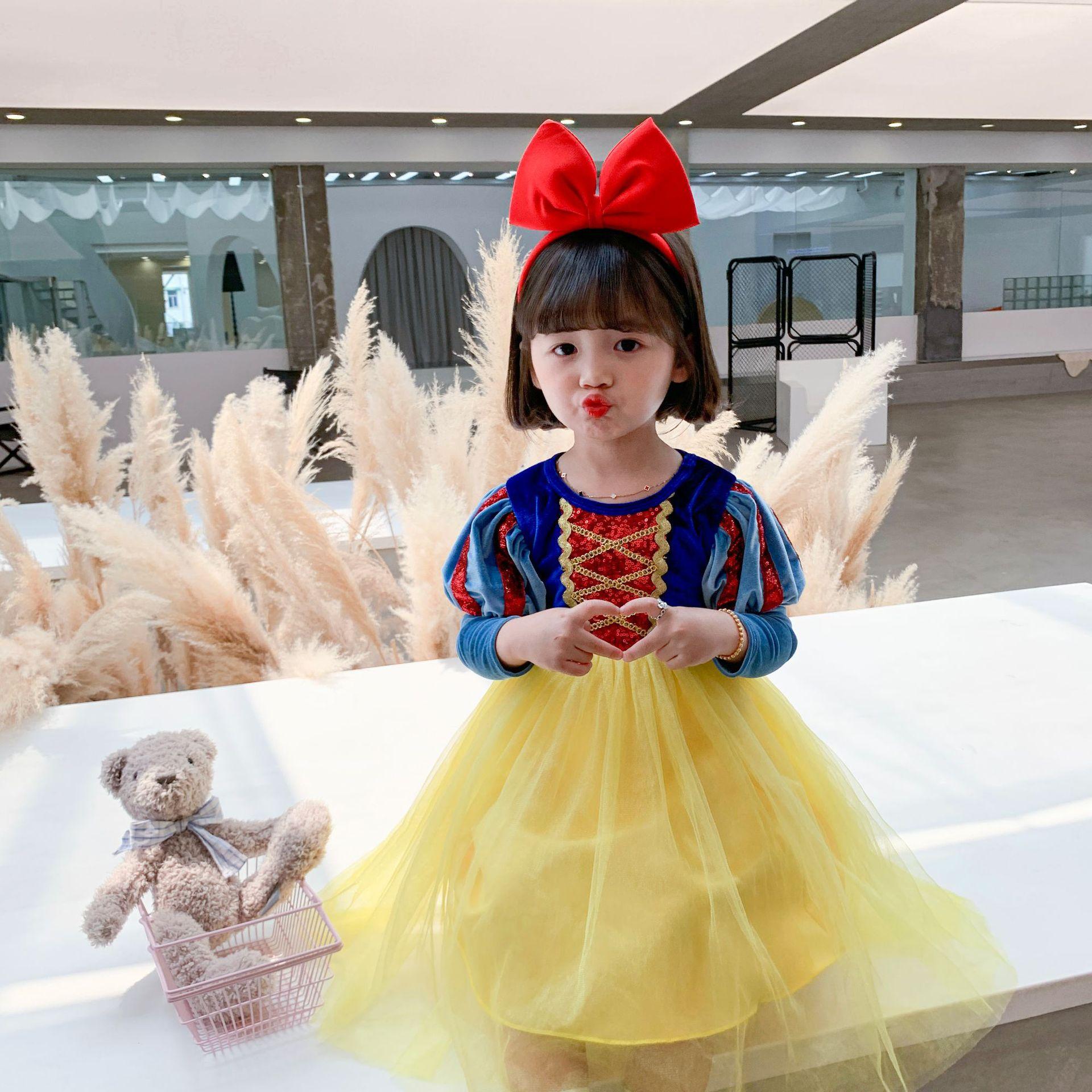 2020 Christmas Children's Skirt Dress Series-Snow White Long Sleeve Princess Dress Velvet Mesh Dress