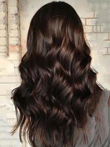 EASIHAIR Women's Wigs Bangs Heat-Resistant Water-Wave Dark-Brown Black Long with Synthetic