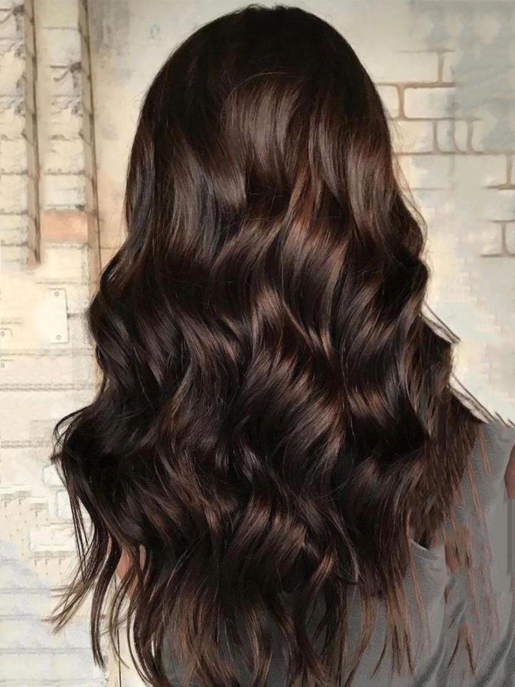 Women's Wigs Bangs American-Hair Heat-Resistant Water-Wave Dark-Brown Black Long