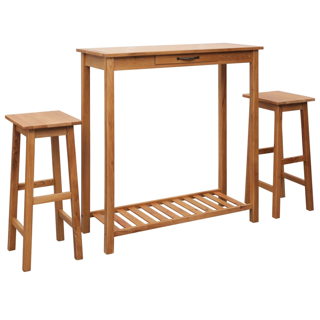 Minimalist Modern Bar Table Set Of 3 Good Solid Oak Wood Bar Tables And Chairs 3 Pcs With Shelves For Storage Home Furniture